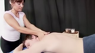 Alluring maid gives a full bodied massage ahead of sucking then riding that dick pov