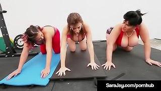 Naughty Nympho Sara Jay & Gia Love Strip & Fuck After Yoga!