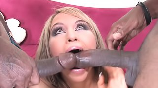 Aleska Diamond gets DP bnaged with big black dicks and takes cum in mouth