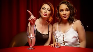 Artistic lesbian session with two elegant models Kendra James and Hadley Viscara