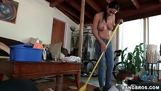 Cute maid with an amazing body takes off her top