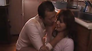 Attractive Japanese wife with a sublime ass feeds her desir