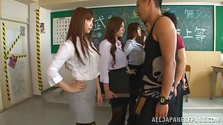 Stunning Asian schoolgirls arrange gangbang in the classroom