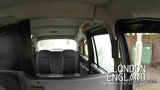 British busty blonde changing in fake taxi