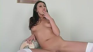 Pretty brunette Alaura Eden has awesome interracial anal sex
