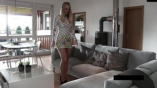 naughty-hotties net - kinky blonde short dress couch quickie
