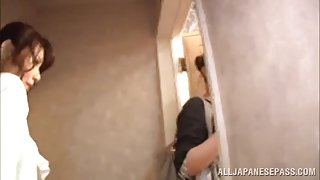 Sexy asian babe attends to hot porn session