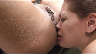 licking the butthole of a hairy butt girl