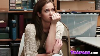 Rough threesome fucking inside the office with teen thieves