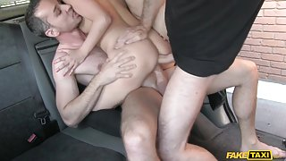 Madlin in Cab driver gets balls deep in backseat threesome action - FakeTaxi