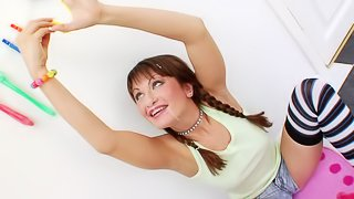 Adorable Teen With Pigtails In A Titillating Gangbang