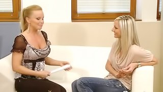 Horny blond babe Ambra B comes for a casting
