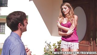 Skinny young teen Staci Silverstone gets split by a thick cock
