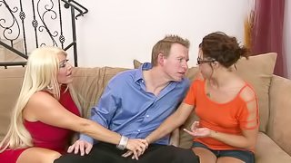 Hot brunette gets her pussy licked and fucked in threesome video