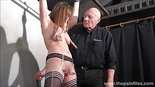 Teen ### Taylor Hearts nipple clamp punishment and pussy torments of beautiful submissive in hardcore dungeon bondage