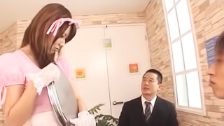 Their cute Asian maid with big tits is happy to get fucked