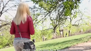 Beautiful blonde Diana is ready to enjoy the outdoors penetration