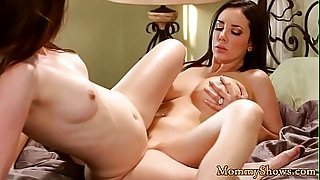Les milf and stepdaughter scissoring slowly