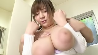 Busty Asian chic bend overs for a fierce doggystyle bonking in a close up shoot