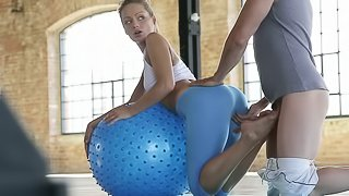 Pilates Instructor Pounds His Hot Student Right On The Ball!
