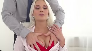 Cecilia Scott is a curvy blonde in need of a couple of dicks