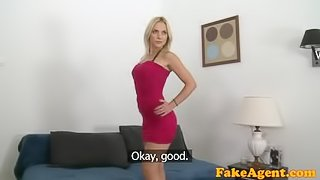 FakeAgent Pretty blonde in a red dress gives a great blowjob