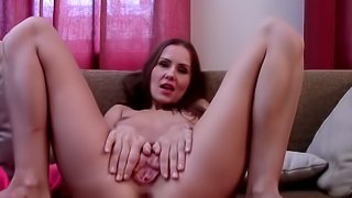 Busty amateur chick is demonstrating her anal hole