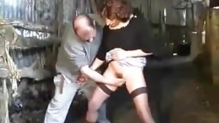 Hairy french mature anal in the barn