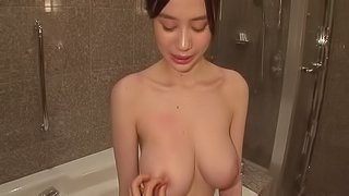 Bubbly pornstar shows of her creampied Japanese pussy after an orgasmic screwing