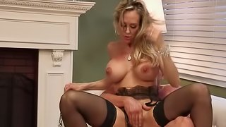 Cougar in beautiful black stockings gives him her pussy