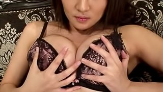 Kotori Hanagar fingers her cunt and gives a titjob to her man
