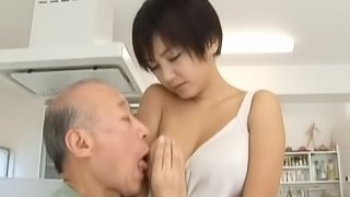 Short-haired Japanese girl seduces an old man and fucks him