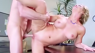 Blondie riding her sexy boss