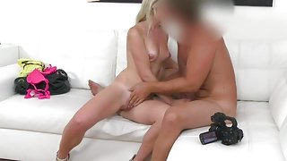 Fake Agent Hot blonde in pink thong really wants model work