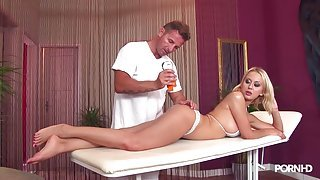 Glorious big natural breasts on the massage table slut