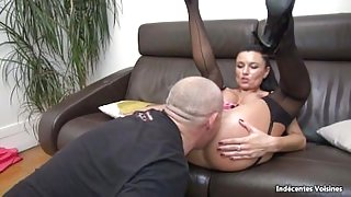 Ania Kinski and a swiny old bag fucks her asshole