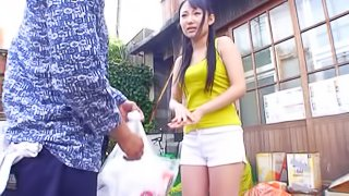 Japanese girl wearing shorts gets fucked by her neighbour outdoors