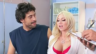 Amazing sex with the busty blonde doctor Christie Stevens