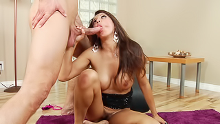 A brunette is spreading her pussy lips open and she is fucked