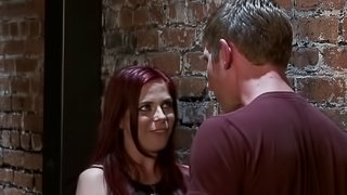 Dishy redhead in mmf giving a steamy blowjob as she gets hammered
