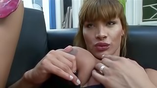Nasty ladyboy Crystal B makes some guy suck and ride her cock