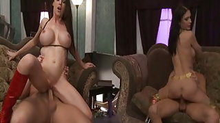 Horny pornstars Jessica Jaymes and McKenzie Lee in incredible blowjob, group sex xxx video