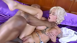 Steamy blonde tries the black monster in extreme scenes