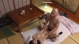 Nice ass asian brunette slammed in missionary by horny old professor