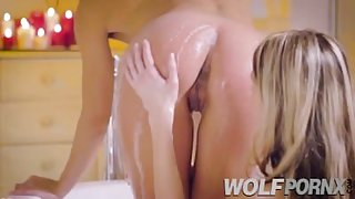 Two beautiful lesbians Alexa Tomas fucking in the shower