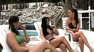Horny bitches out by the pool sunbathing and talking about sex