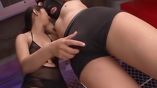 Japanese Dominatrix has fun with a blindfolded tied up man