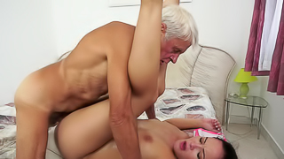 A gray man that has a hard cock is getting sucked and teased