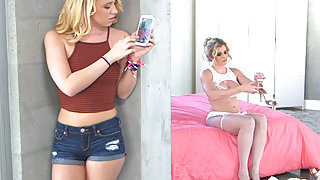 Teen caught spying on her stepmom and they go lesbian