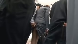 Japanese office girl gets stunningly fucked in a train